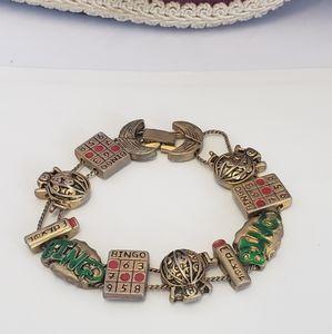 Unique Vintage BINGO charm Bracelet